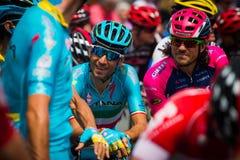 Pinerolo, Italie le 27 mai 2016 ; Vincenzo Nibali, équipe d'Astana, concentrée dans le groupe avant le début de l'étape Photographie stock