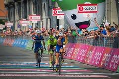 Pinerolo Italien Maj 26, 2016; Matteo Trentin segrade etappen av Postgirot D'Italia 2016 från Muggià ² till Pinerolo Royaltyfri Fotografi
