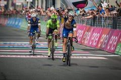 Pinerolo Italien Maj 26, 2016; Matteo Trentin segrade etappen av Postgirot D'Italia 2016 från Muggià ² till Pinerolo Arkivbild