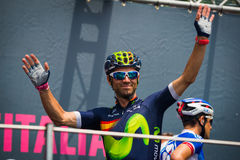 Pinerolo, Italy May 27, 2016; Alejandro Valverde, Movistar Team, to the podium signatures before the start of  the Stage Royalty Free Stock Images