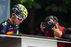 Pinerolo, Italy May 27, 2016; Alejandro Valverde, Movistar Team, to the podium signatures before the start of  the Stage Stock Photo
