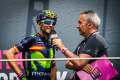 Pinerolo, Italy May 27, 2016; Alejandro Valverde, Movistar Team, to the podium signatures before the start of  the Stage Royalty Free Stock Photos