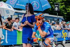 Pinerolo, Italy May 27, 2016; Damiano Cunego, Nippo Vini Fantini Team, in blue jersey and  in the front row Stock Photos