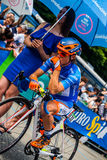 Pinerolo, Italy May 27, 2016; Damiano Cunego, Nippo Vini Fantini Team, in blue jersey and  in the front row Stock Image