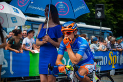 Pinerolo, Italy May 27, 2016; Damiano Cunego, Nippo Vini Fantini Team, in blue jersey and  in the front row Stock Photo