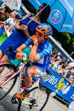 Pinerolo, Italy May 27, 2016; Damiano Cunego, Nippo Vini Fantini Team, in blue jersey and  in the front row Royalty Free Stock Photography