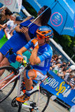 Pinerolo, Italy May 27, 2016; Damiano Cunego, Nippo Vini Fantini Team, in blue jersey and  in the front row Royalty Free Stock Images