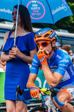 Pinerolo, Italy May 27, 2016; Damiano Cunego, Nippo Vini Fantini Team, in blue jersey and  in the front row Stock Photography