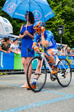 Pinerolo, Italy May 27, 2016; Damiano Cunego, Nippo Vini Fantini Team, in blue jersey and  in the front row Stock Images