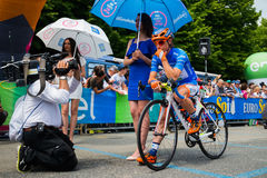 Pinerolo, Italy May 27, 2016; Damiano Cunego, Nippo Vini Fantini Team, in blue jersey and  in the front row Royalty Free Stock Photo