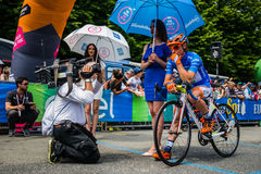 Pinerolo, Italy May 27, 2016; Damiano Cunego, Nippo Vini Fantini Team, in blue jersey and  in the front row Royalty Free Stock Photos