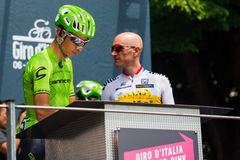 Pinerolo, Italy May 27, 2016; Davide Formolo, Cannondale Team, to the podium signatures before the start of  the hard mountain sta Royalty Free Stock Images