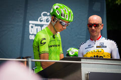 Pinerolo, Italy May 27, 2016; Davide Formolo, Cannondale Team, to the podium signatures before the start of  the hard mountain sta Royalty Free Stock Photos