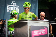 Pinerolo, Italy May 27, 2016; Davide Formolo, Cannondale Team, to the podium signatures before the start of  the hard mountain sta Stock Photo