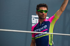 Pinerolo, Italy May 27, 2016; Diego Ulissi, Lampre Team, to the podium signatures before the start of  the hard mountain stage Royalty Free Stock Photo