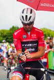 Pinerolo, Italy May 27, 2016; Giacomo Nizzolo, Treck Segafredo Team, in red jersey and  in the front row ready to start Stock Photography