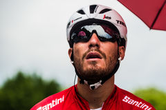 Pinerolo, Italy May 27, 2016; Giacomo Nizzolo, Treck Segafredo Team, in red jersey and  in the front row ready to start. For the hard mountain stage from Stock Photo