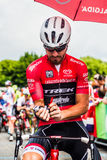 Pinerolo, Italy May 27, 2016; Giacomo Nizzolo, Treck Segafredo Team, in red jersey and  in the front row ready to start Royalty Free Stock Photography