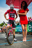 Pinerolo, Italy May 27, 2016; Giacomo Nizzolo, Treck Segafredo Team, in red jersey ready to start for the stage. Royalty Free Stock Images