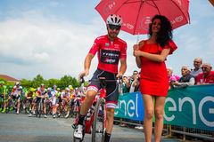 Pinerolo, Italy May 27, 2016; Giacomo Nizzolo, Treck Segafredo Team, in red jersey ready to start for the stage. Stock Photography