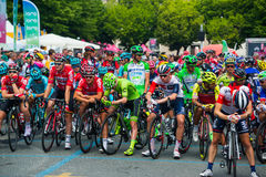 Pinerolo, Italy May 27, 2016; Group professional cyclist  in the front row ready to start for the hard mountain stage Stock Image