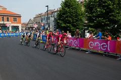 Pinerolo, Italy May 26, 2016; A group of professional cyclists accelerates for the sprint before the finish line Royalty Free Stock Photos