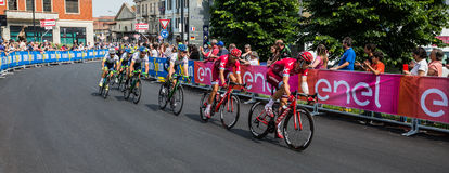 Pinerolo, Italy May 26, 2016; A group of professional cyclists accelerates for the sprint before the finish line Royalty Free Stock Images