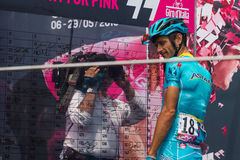 Pinerolo, Italy May 27, 2016; Michele Scarponi, Astana Team, to the podium signatures before the start of  the hard mountain stage Stock Photography