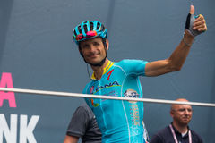 Pinerolo, Italy May 27, 2016; Michele Scarponi, Astana Team, to the podium signatures before the start of the stage Stock Photo