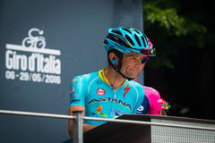 Pinerolo, Italy May 27, 2016; Michele Scarponi, Astana Team, to the podium signatures before the start of the stage Stock Photography