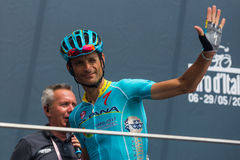 Pinerolo, Italy May 27, 2016; Michele Scarponi, Astana Team, to the podium signatures before the start of the stage Stock Image