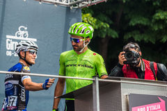 Pinerolo, Italy May 27, 2016; Moreno Moser, Cannondale Team, to the podium signatures before the start of  the hard mountain stage Stock Photos