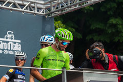 Pinerolo, Italy May 27, 2016; Moreno Moser, Cannondale Team, to the podium signatures before the start of  the hard mountain stage Stock Photography