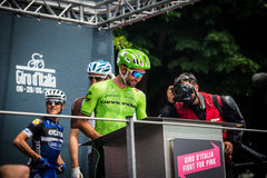 Pinerolo, Italy May 27, 2016; Moreno Moser, Cannondale Team, to the podium signatures before the start of  the hard mountain stage. From Pinerolo to Risoul in Stock Images