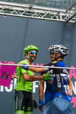 Pinerolo, Italy May 27, 2016; Moreno Moser, Cannondale Team, with Trentin and Brambilla to the podium signatures before the start Royalty Free Stock Photography