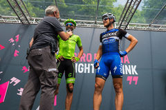 Pinerolo, Italy May 27, 2016; Moreno Moser, Cannondale Team, with Trentin and Brambilla to the podium signatures before the start Royalty Free Stock Images