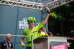 Pinerolo, Italy May 27, 2016; Rigoberto Uran, Cannondale Team, to the podium signatures before the start of  the hard mountain sta Stock Images