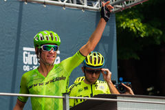 Pinerolo, Italy May 27, 2016; Rigoberto Uran, Cannondale Team, to the podium signatures before the start of  the hard mountain sta Stock Photography