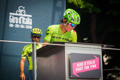 Pinerolo, Italy May 27, 2016; Rigoberto Uran, Cannondale Team, to the podium signatures before the start of  the hard mountain sta Royalty Free Stock Image
