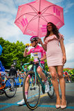 Pinerolo, Italy May 27, 2016; Steven Kruijswijk, Lotto Team, in Pink  jersey and  in the front row ready to start Stock Images