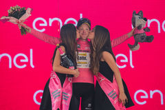 Pinerolo, Italy May 26, 2016; Steven Kruijswijk on the podium in pink jersey is the leader of the General Classification after fin Stock Photos