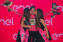 Pinerolo, Italy May 26, 2016; Steven Kruijswijk on the podium in pink jersey is the leader of the General Classification after fin Royalty Free Stock Photo