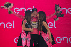Pinerolo, Italy May 26, 2016; Steven Kruijswijk on the podium in pink jersey is the leader of the General Classification after fin Stock Photography