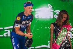 Pinerolo, Włochy Maj 26, 2016; Matteo Trentin na podium po wygrywać scenę Fotografia Royalty Free