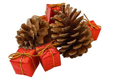 Pines cones and christmas gift boxes. Isolated on white with clipping path Royalty Free Stock Images