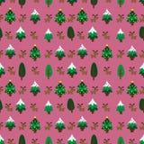 Pinetree темы рождества и картина северного оленя безшовная Стоковое Изображение