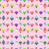Pinetree темы рождества и картина sweety северного оленя безшовная Стоковое Фото