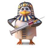 Pingüino antiguo fresco Tutankhamun del faraón del pingüino que sostiene una jeringuilla, ejemplo 3d libre illustration