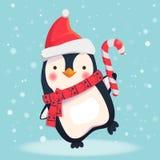 Pingüino con el caramelo de la Navidad libre illustration