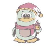 Pingüino con helado ilustración del vector